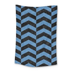Chevron2 Black Marble & Blue Colored Pencil Small Tapestry by trendistuff