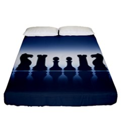 Chess Pieces Fitted Sheet (queen Size) by Valentinaart