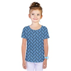 Brick2 Black Marble & Blue Colored Pencil (r) Kids  One Piece Tee by trendistuff