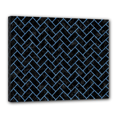 Brick2 Black Marble & Blue Colored Pencil Canvas 20  X 16  (stretched) by trendistuff