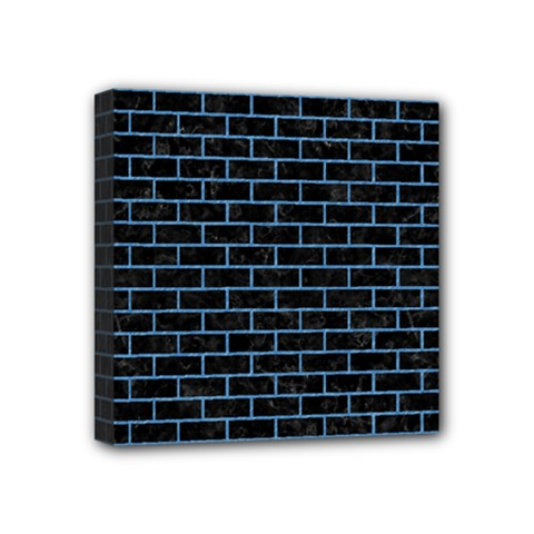 Brick1 Black Marble & Blue Colored Pencil Mini Canvas 4  X 4  (stretched) by trendistuff
