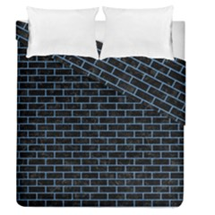 Brick1 Black Marble & Blue Colored Pencil Duvet Cover Double Side (queen Size) by trendistuff