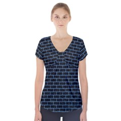 Brick1 Black Marble & Blue Colored Pencil Short Sleeve Front Detail Top