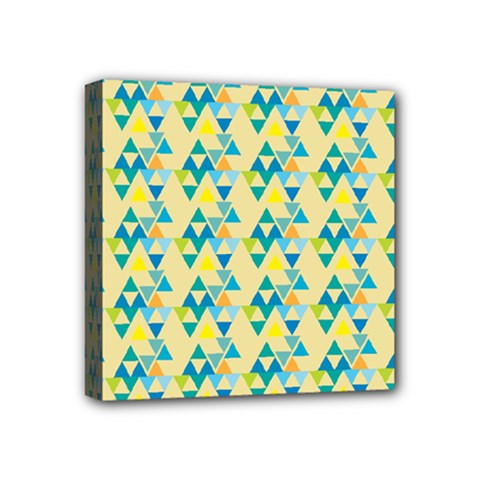 Colorful Triangle Pattern Mini Canvas 4  X 4  by berwies