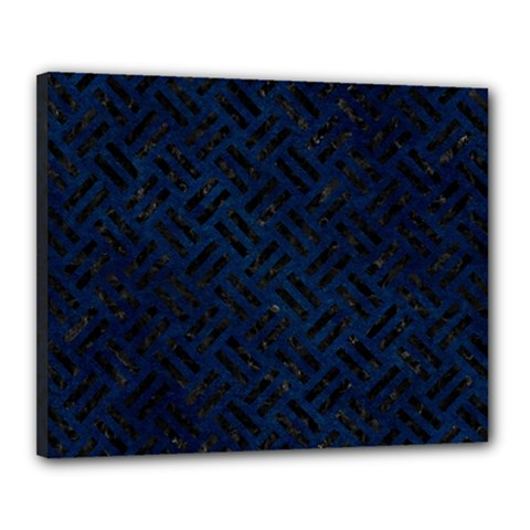 Woven2 Black Marble & Blue Grunge (r) Canvas 20  X 16  (stretched) by trendistuff