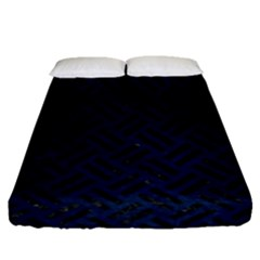 Woven2 Black Marble & Blue Grunge (r) Fitted Sheet (queen Size) by trendistuff