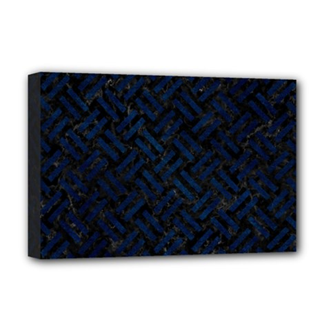 Woven2 Black Marble & Blue Grunge Deluxe Canvas 18  X 12  (stretched) by trendistuff