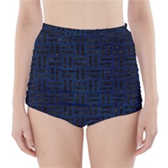 Woven1 Black Marble & Blue Grunge (r) High Waisted Bikini Bottoms by trendistuff