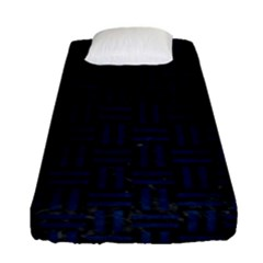 Woven1 Black Marble & Blue Grunge Fitted Sheet (single Size) by trendistuff
