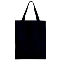 Woven1 Black Marble & Blue Grunge Zipper Classic Tote Bag by trendistuff