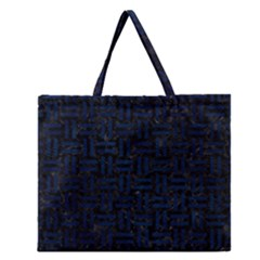 Woven1 Black Marble & Blue Grunge Zipper Large Tote Bag by trendistuff