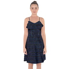 Woven1 Black Marble & Blue Grunge Ruffle Detail Chiffon Dress