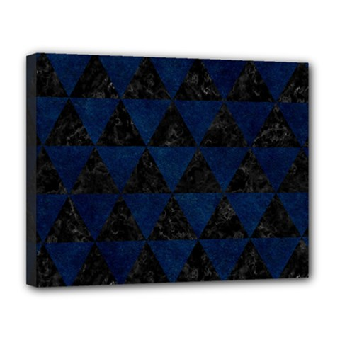 Triangle3 Black Marble & Blue Grunge Canvas 14  X 11  (stretched) by trendistuff
