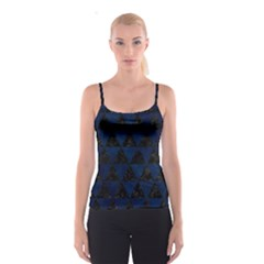 Triangle3 Black Marble & Blue Grunge Spaghetti Strap Top
