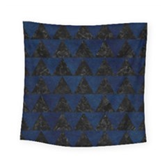 Triangle2 Black Marble & Blue Grunge Square Tapestry (small) by trendistuff