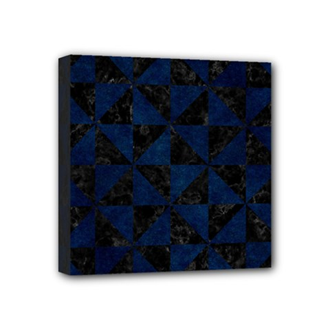Triangle1 Black Marble & Blue Grunge Mini Canvas 4  X 4  (stretched) by trendistuff