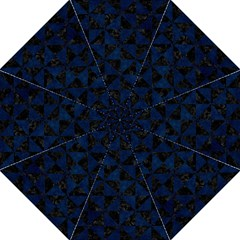 Triangle1 Black Marble & Blue Grunge Folding Umbrella by trendistuff