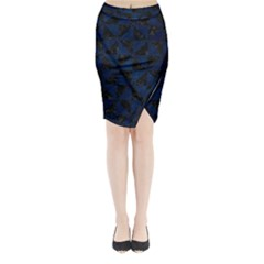 Triangle1 Black Marble & Blue Grunge Midi Wrap Pencil Skirt by trendistuff