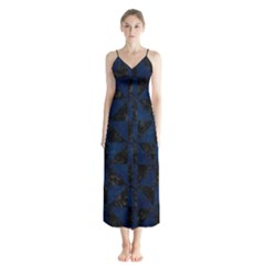 Triangle1 Black Marble & Blue Grunge Button Up Chiffon Maxi Dress