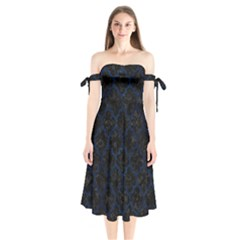 Tile1 Black Marble & Blue Grunge Shoulder Tie Bardot Midi Dress by trendistuff
