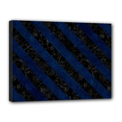 Stripes3 Black Marble & Blue Grunge (r) Canvas 16  X 12  (stretched) by trendistuff