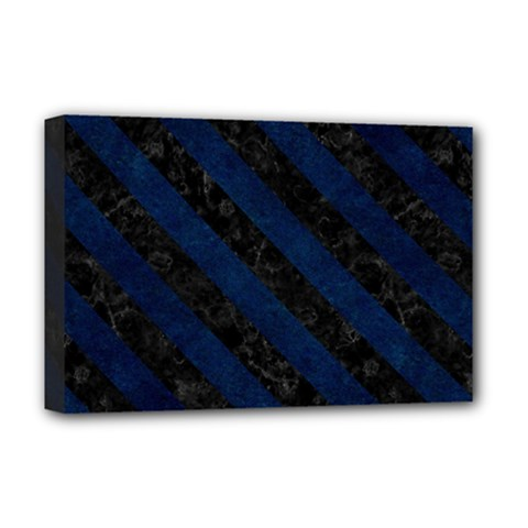 Stripes3 Black Marble & Blue Grunge (r) Deluxe Canvas 18  X 12  (stretched) by trendistuff