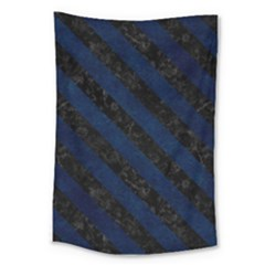 Stripes3 Black Marble & Blue Grunge (r) Large Tapestry by trendistuff