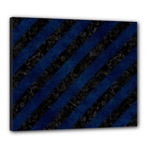Stripes3 Black Marble & Blue Grunge Canvas 24  X 20  (stretched) by trendistuff