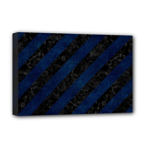 Stripes3 Black Marble & Blue Grunge Deluxe Canvas 18  X 12  (stretched) by trendistuff