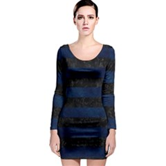Stripes2 Black Marble & Blue Grunge Long Sleeve Bodycon Dress by trendistuff