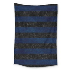 Stripes2 Black Marble & Blue Grunge Large Tapestry by trendistuff