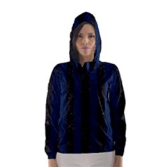 Stripes1 Black Marble & Blue Grunge Hooded Wind Breaker (women) by trendistuff