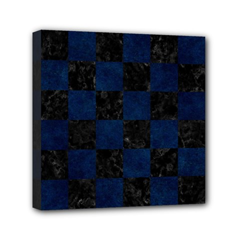 Square1 Black Marble & Blue Grunge Mini Canvas 6  X 6  (stretched) by trendistuff