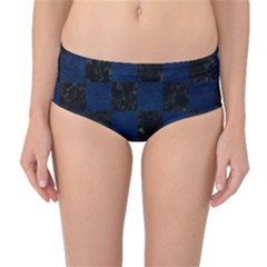 Square1 Black Marble & Blue Grunge Mid Waist Bikini Bottoms by trendistuff