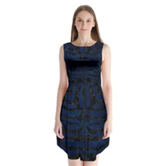 Skin2 Black Marble & Blue Grunge (r) Sleeveless Chiffon Dress   by trendistuff