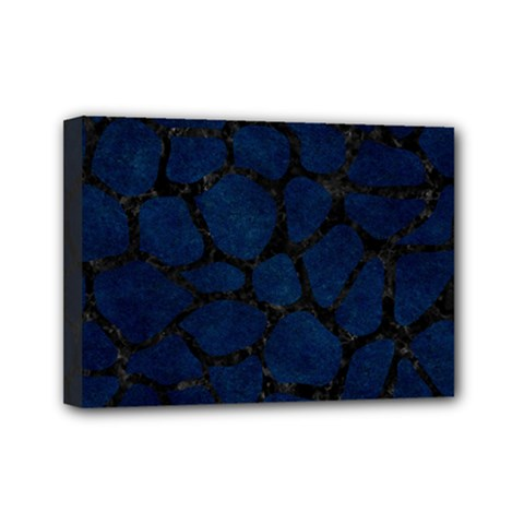 Skin1 Black Marble & Blue Grunge Mini Canvas 7  X 5  (stretched) by trendistuff