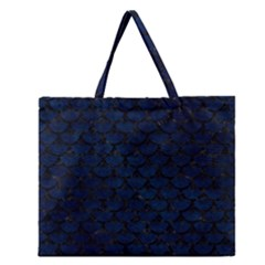 Scales3 Black Marble & Blue Grunge (r) Zipper Large Tote Bag by trendistuff
