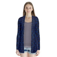 Scales3 Black Marble & Blue Grunge (r) Drape Collar Cardigan by trendistuff