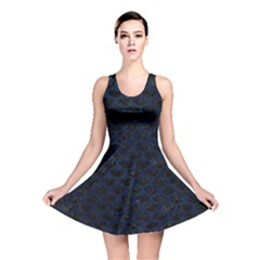 Scales3 Black Marble & Blue Grunge Reversible Skater Dress by trendistuff