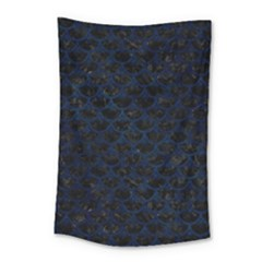Scales3 Black Marble & Blue Grunge Small Tapestry