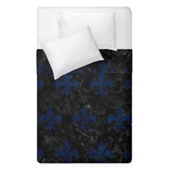 Royal1 Black Marble & Blue Grunge (r) Duvet Cover Double Side (single Size) by trendistuff