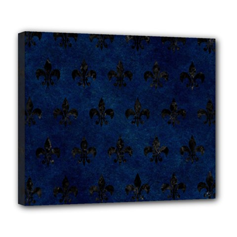 Royal1 Black Marble & Blue Grunge Deluxe Canvas 24  X 20  (stretched) by trendistuff