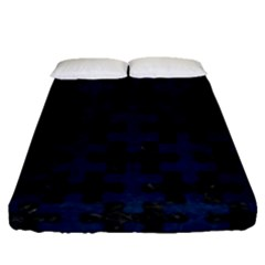 Puzzle1 Black Marble & Blue Grunge Fitted Sheet (queen Size) by trendistuff