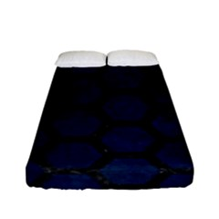Hexagon2 Black Marble & Blue Grunge (r) Fitted Sheet (full/ Double Size) by trendistuff