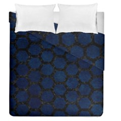 Hexagon2 Black Marble & Blue Grunge (r) Duvet Cover Double Side (queen Size) by trendistuff