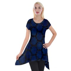 Hexagon2 Black Marble & Blue Grunge (r) Short Sleeve Side Drop Tunic by trendistuff