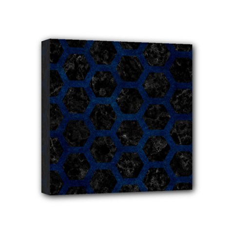 Hexagon2 Black Marble & Blue Grunge Mini Canvas 4  X 4  (stretched) by trendistuff