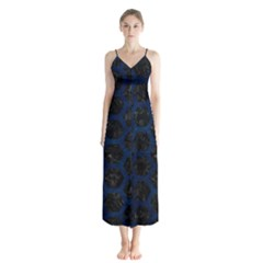 Hexagon2 Black Marble & Blue Grunge Button Up Chiffon Maxi Dress by trendistuff