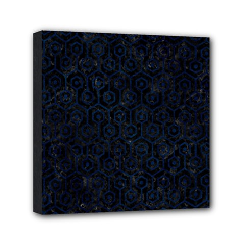 Hexagon1 Black Marble & Blue Grunge Mini Canvas 6  X 6  (stretched) by trendistuff