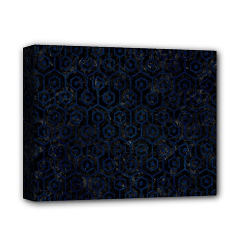 Hexagon1 Black Marble & Blue Grunge Deluxe Canvas 14  X 11  (stretched) by trendistuff